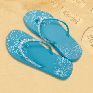 Diamonte Flip Flops Blue - Large